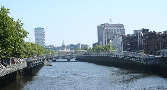 View of Dublin down the Liffey.